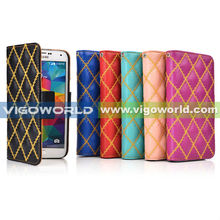 VIGOWORLD Diamond Embroidery Flip Magnet PU Leather Stand Cell Phone Case For Samsung Galaxy S5 i9600
