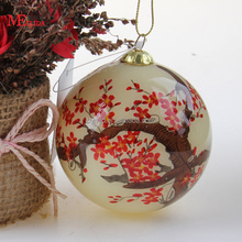 2018 Chinese style with Inside Hand painted christmas glass flower ball