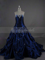 SA1005 Beaded Embroidery Dark Blue Wedding Dresses 2015 New Arrival