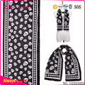 Polyester Printed Chiffon Scarf With Skull