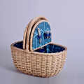 high quality willow picnic basket with handle and customized lining