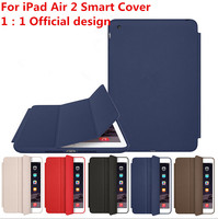 1:1 Official Original Smart Case For iPad Air 2 Ultra thin Book Stand Cover Flip Leather Case For iPad 6 for Apple LOGO