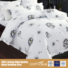 China Supplier Wholesale Linen Sets/Custom Hotel Logo Bed Sheet Sets/Printing Flower, Nantong Famous Brand