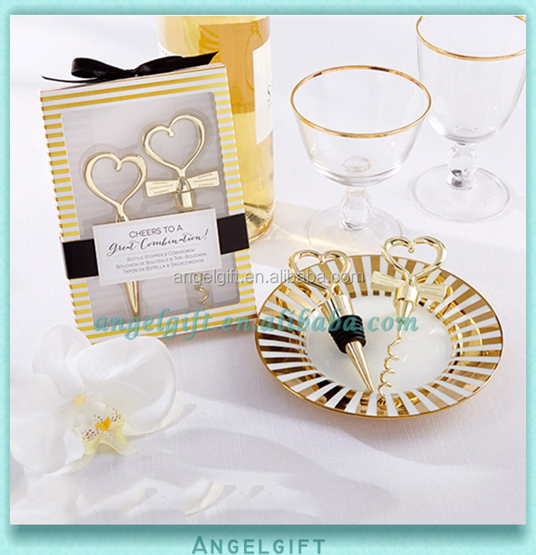 Wedding Favors Set Corkscrew and Gold Heart Bottle Stopper