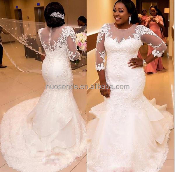 2016 African Plus Size Mermaid Wedding Dress Lace Appliques Long Sleeves Beaded Wedding Gowns Layered Arabic Bridal Dress