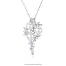 925 Silver Jewelry Fashion Necklaces with Freshwater Pearl Flower Imitation Diamond Necklaces
