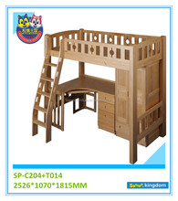 Children twin wood xl Bunk bed with desk and wardrobe bed room set