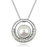 Fake Pearl With Crystal Pendant Round Imitation Pearl Necklaces