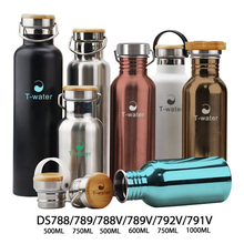 Eco life wide mouth best stainless steel insulated bpa free sports water bottle with bamboo lid