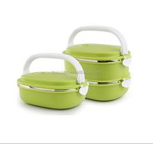 2 layers Stainless Steel Insulated Square Lunch Box food container(2, Green)