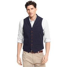 2014 Top Quality 100% wool blue striped waistcoat for men <strong>design</strong>
