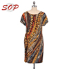 New design short sleeve printed ethnic shirt dresses women casual tunic dress