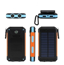 10000mAh Solar Power Bank Portable Battery Pack Cellphone Charger with 2 LED Flashlights