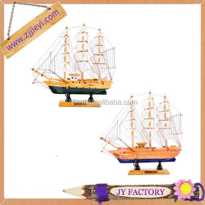 Decorative model wooden sailboat wood carving crafts sailboat for home decoration