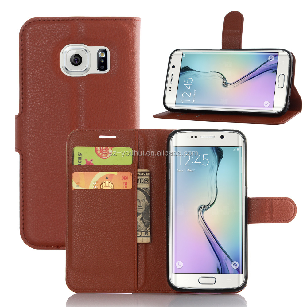 HOT SELLING Luxury PU Lichee Leather Flip Cover Case for Samsung GALAXY S7 edge with Wallet
