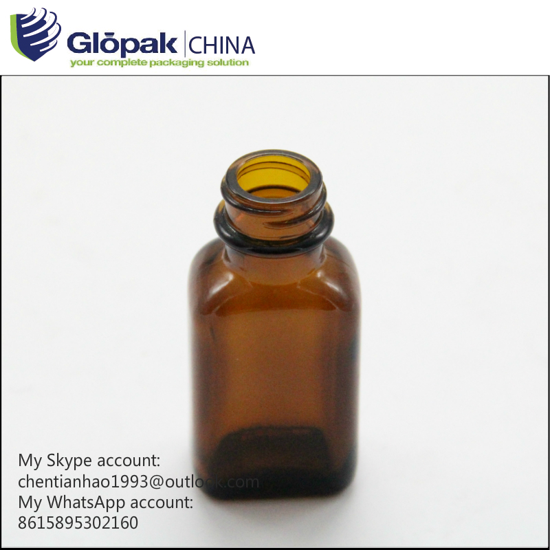 Rectangle 20ml amber essential oil glass bottles with chilidproof caps
