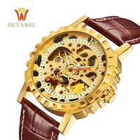Unique Design Brown Leather Band 3Atm Water Resistant Transparent Gold Skeleton Dial Automatic Gear Man Watch