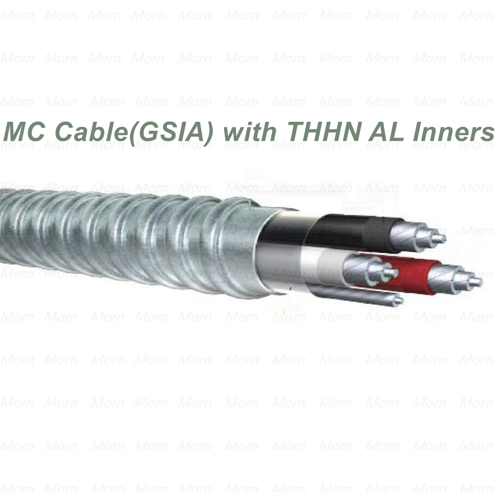 Low Voltage MC Cable with THHN/THWN-2 AL Inners and Bare Grounding Conductor Galvanized Steel Interlocked Armor Cable