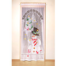 Decorative 17 LEDs Lighted Christmas Snowman Lace Window Door Curtain