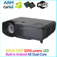 3500 lumen native 720P hd 3d led android projector phone wifi/passive 3d projector holographic/china cheap lcd projector price