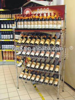 5 Tiers Adjustable Chrome Metal Wine Rack Slanted Wine