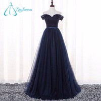 Pleats Bow Sash Floor-Length Off-Shoulder Lady Evening Dress