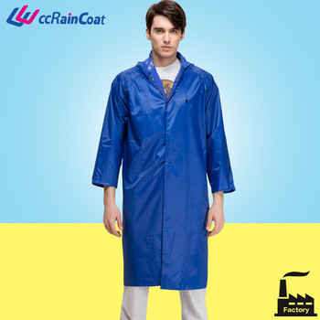 blue long to knee polyester mens waterproof jacket