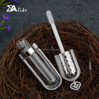 Cosmetics wholesale clear led aluminum plastic lip gloss bottle with brush