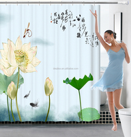 Factory direct sale digital printing polyster shower curtain/bathroom curtain,CHIOISERIE