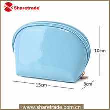 Promotional Beautiful Shiny Cosmetic PVC Bags Custom, Small Blue Trave Toiletry Bag For Iphone