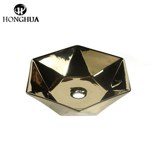 Art basin fancy urinal luxury golden copper polygon irregular basin sink for bathroom