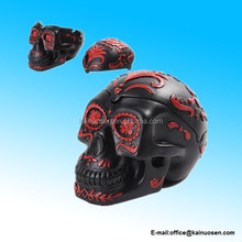 RED BLACK DECORATED TATTOO DAY OF THE DEAD SUGAR SKULL ASHTRAY STATUE