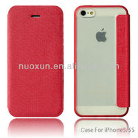 OEM book type leather back cover case for iphone 5