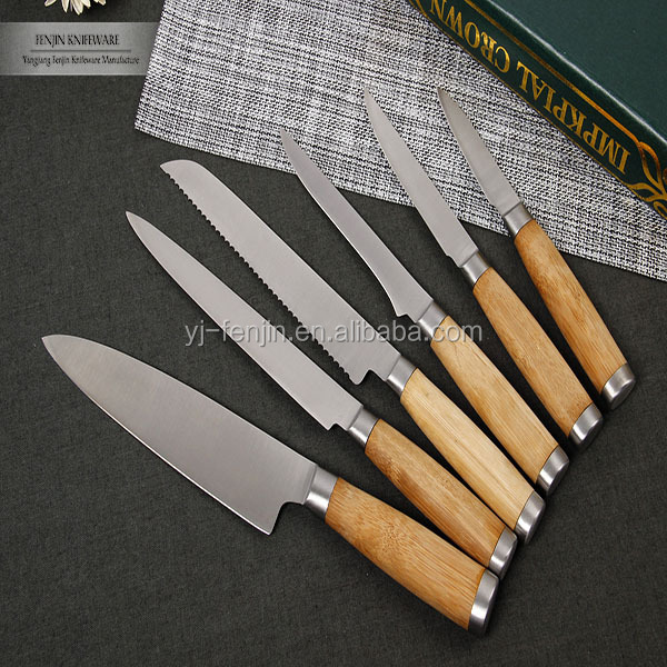 5pcs Bamboo Handle Stainless Steel Kitchen Knife