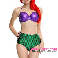2016 Summer Hot Sexy Mermaid Bikini Latest Design Fashion Girl Pretty Purple Green High Waist Swimsuit