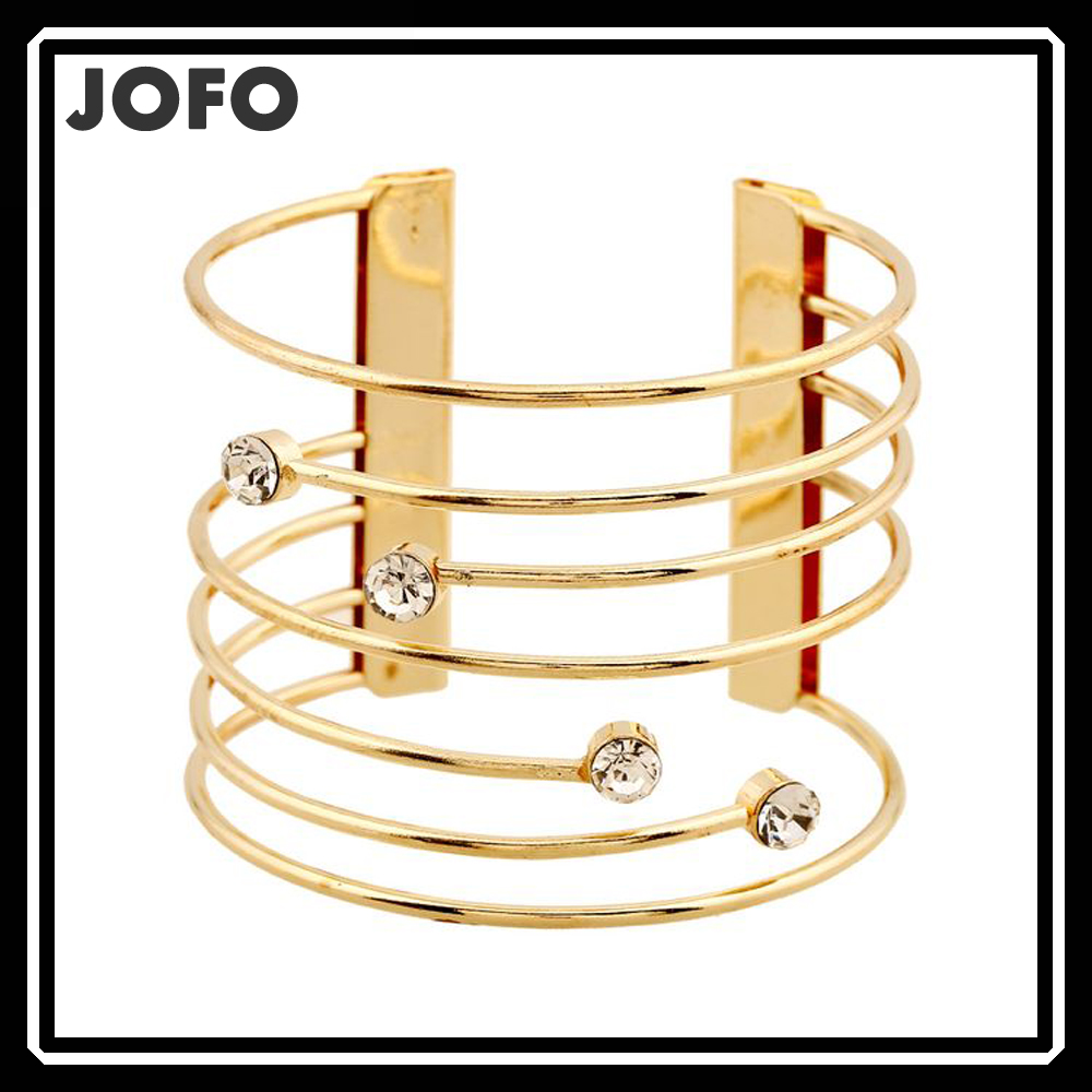 New arrival Punky Style Hollow Cuff Big Gold Bangles For Women Charm Vintage Multilayer Wide Bangle