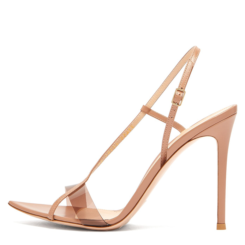 Elegant Nude High Heels for Women Heeled Strappy Sandals for Ladies Open Pointed Toe Stiletto Heel Sandal Summer Shoes 2019
