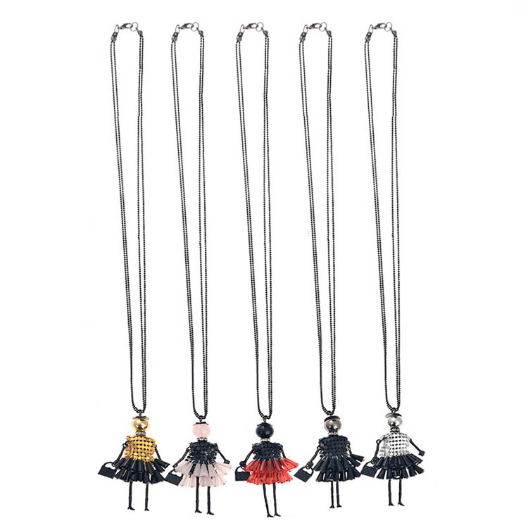 Vintage Bead Chain Alloy Black Pink Red Silver Acrylic Gold Accessory Halloween Gift Wholesale Pendant Necklace