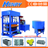 Germany Technology QT4-30 Semi Automatic Diesel Engine concrete paver block machine price, used brick making machine for sale