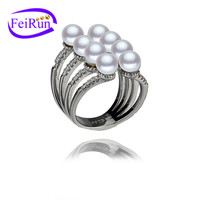 four rows statement jewelry fashion fine jewelry real sterling silver pearl ring