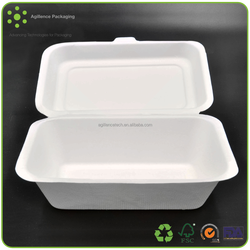 2015 High Quality 1 Compartment Sugarcane Fibre Containers Paper Pulp Container
