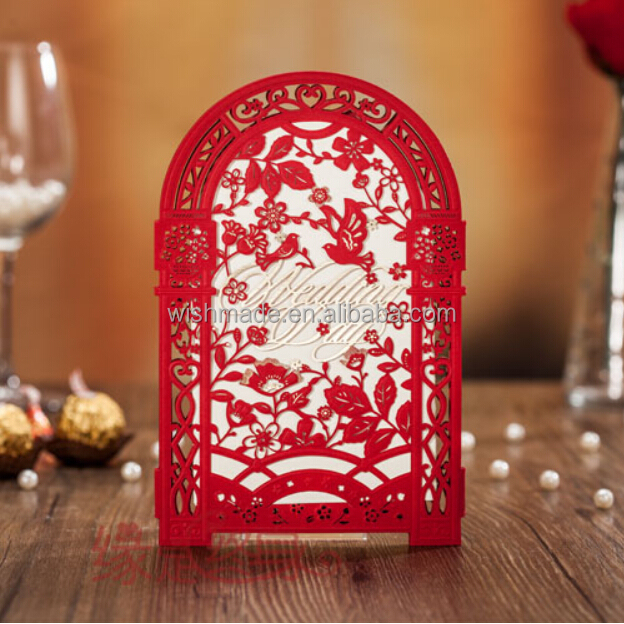 chinese wedding invitation card+blank insert+envelope+seal 4 fold laser cut red wedding invitation cw5125
