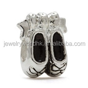 Ballet Shoes charm! Beautiful new design silver plated Ballet Shoes charm
