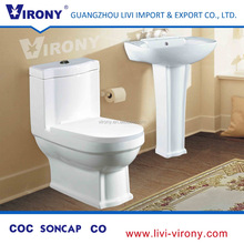 Gold supplier round bowl virony ceramic one piece floor mounted toilet