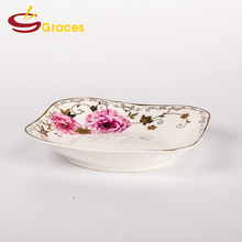 Good Design Deep Gold Rim Printed Ceramic Plate