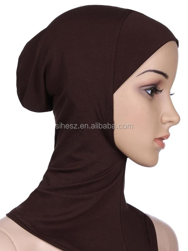 wholesale muslim solid shawl hijab with inner cap headscarf