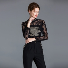 new design women office wear high quality mock neck long sleeves lace top embroidered blouse and pants casual two piece set