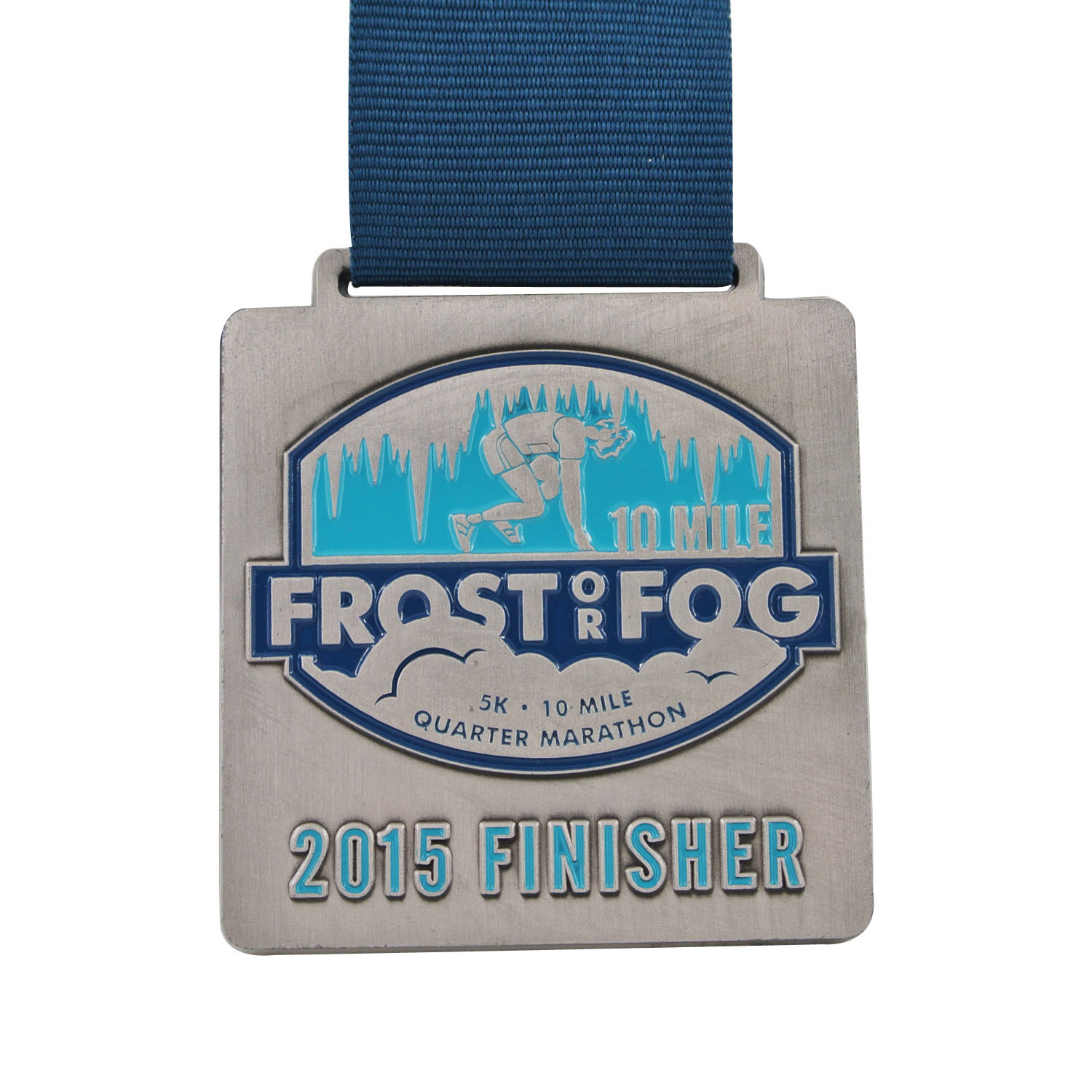 Manufacture Custom Marathon Running Race Sport Square Finisher Metal Medal With Ribbon