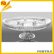 Transparent Round Acrylic Snack Dish Nuts/Seeds Serving Tray Salad Plate Fruit footed tray