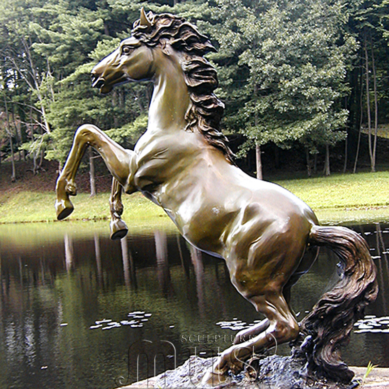 Garden Decoration Life Size Bronze Horse Rearing Water Fountain